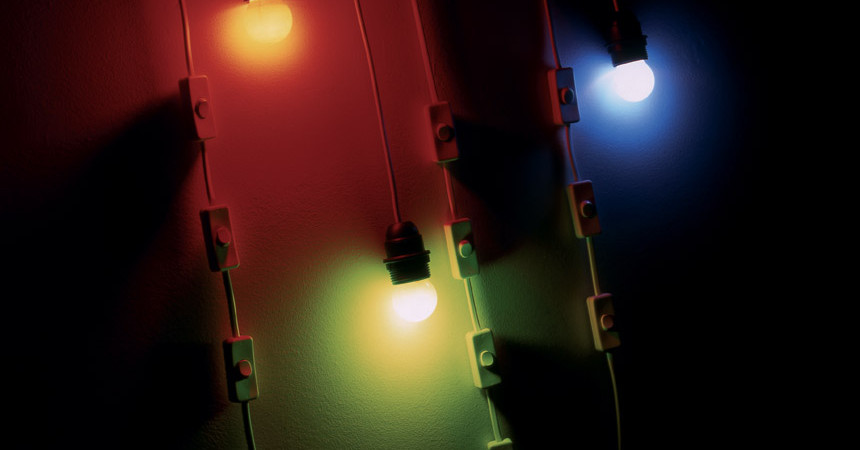 Lampes code RGB, 1998 – lampes, multiples interrupteurs / lamps, multiple switches – dimensions variables