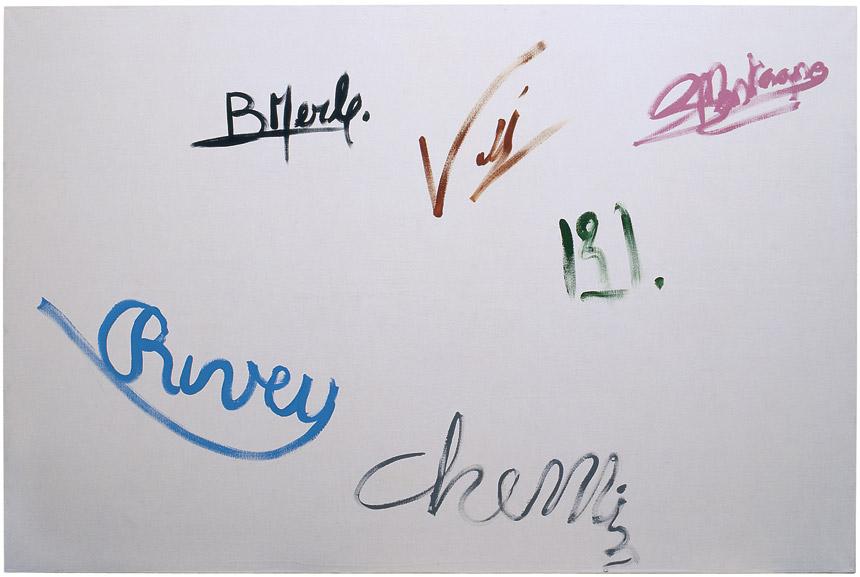 Composition paysagère no IV, 2000 – Signatures de Bernard Merle, Michel Vallée, Frédéric Montagne, Nicole Buisson, Charles Rivière & Marie-Claude Chemin acrylique sur toile / acrylic on canvas – 200 x 300 cm.