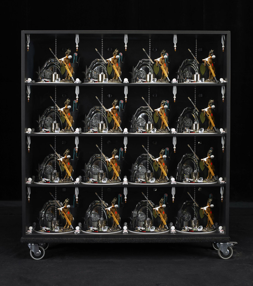 vertical pattern square black I, 2009 - display cabinet, sundry objects – 102 x 102 x 25 cm.