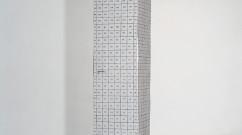 Armoire II, 1990 – armoire découpée, marker, colle / cut-up furniture, marker pen, glue – 189 x 36 x 36 cm.