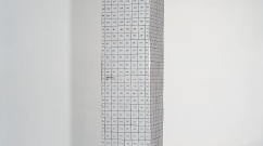 Armoire II, 1990 – armoire découpée, marker, colle / cut-up furniture, marker pen, glue – 189 x 36 x 36 cm.