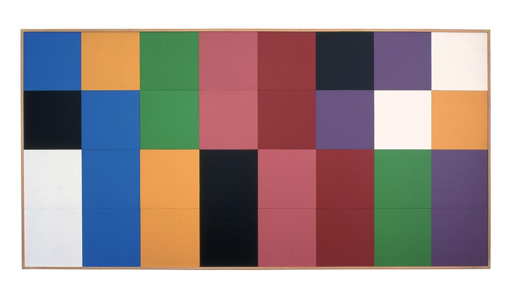 ...de l'ordre alphabétique des couleurs (allemand, anglais, français, italien), 1992 acrylique sur panneaux de bois / acrylic on wooden panels – 100 x 200 cm.
