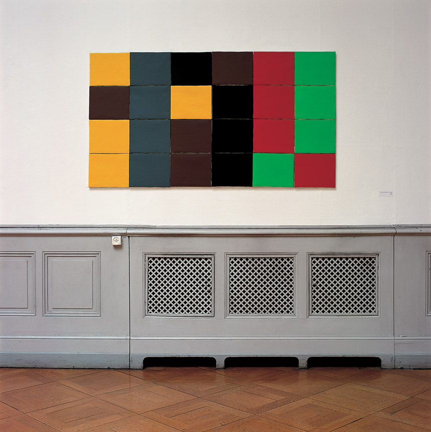 ...de l'ordre alphabétique des couleurs (espagnol, français, italien, portugais), 1992 – acrylique sur toile / acrylic on canvas – 90 x 164 cm.