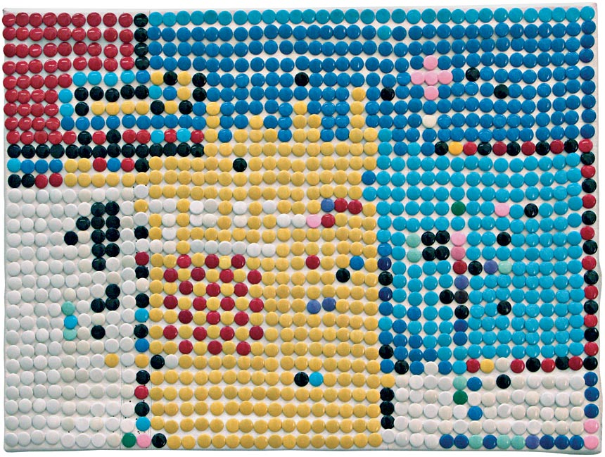 Pixels, 1993 – punaises colorées sur toile / coloured thumbtacks on canvas – 30 x 40 cm.