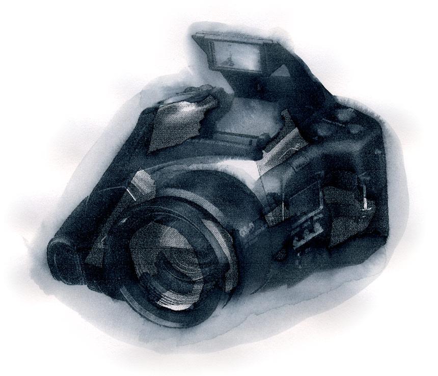 Rendu peinture : camera, 1997 – impression à jet d'encre, eau / inkjet print, water – 20 x 20 cm.