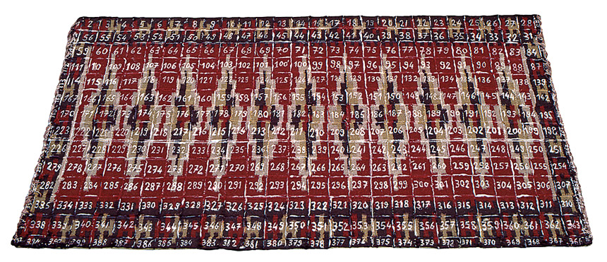 Tapis, 1994 – tapis, peinture, colle / carpet, paint, glue – 67 x 133 cm.