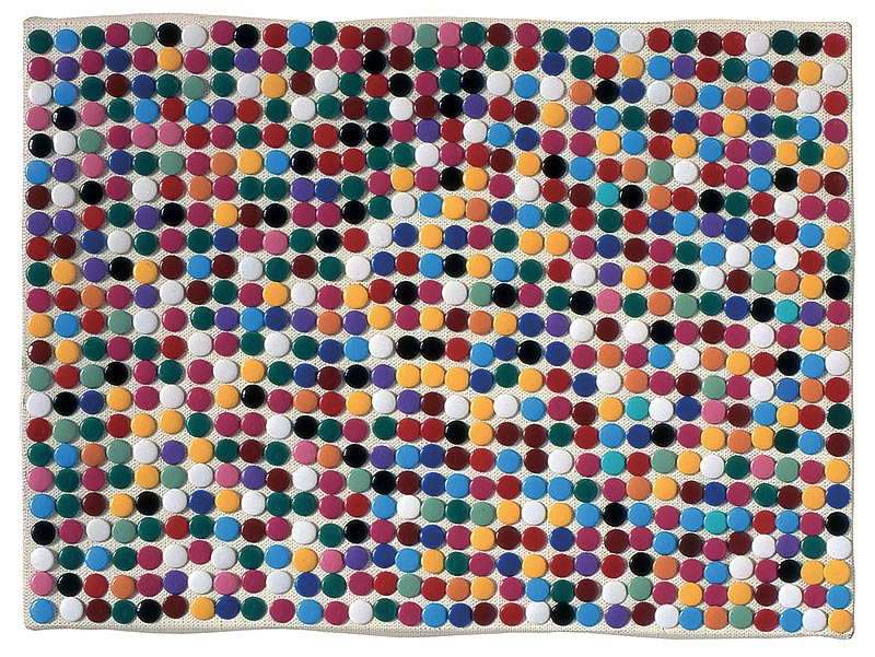 Pixels, 1991 – punaises colorées sur toile / coloured thumbtacks on canvas – 24 x 33 cm.